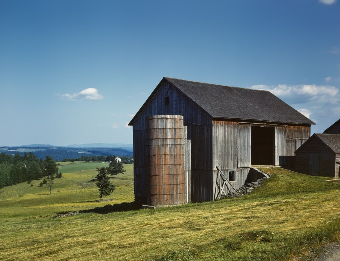 Farmland and weathered barn in the Catskill country New York State June 1943 Kodachrome transparency by John Collier - Courtesy of Shorpy.com