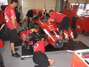 Scott Dixon's crew preparing the car