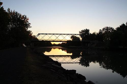 Bridge over Erie Canal in twilight