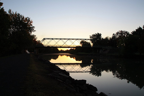 Bridge over Erie Canal in twilight