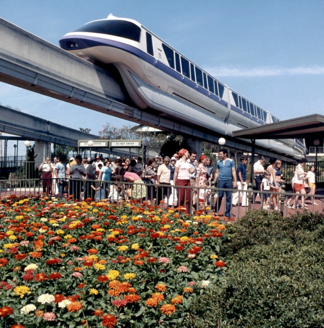 The monorail disgorging itself of undigestible polyester