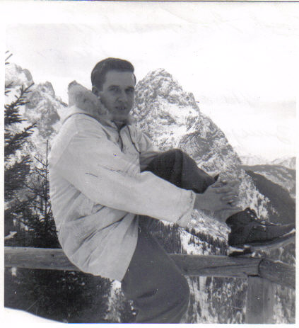 Dad learning to ski in Garmish, Dec of 51 (Zugspitz in background)