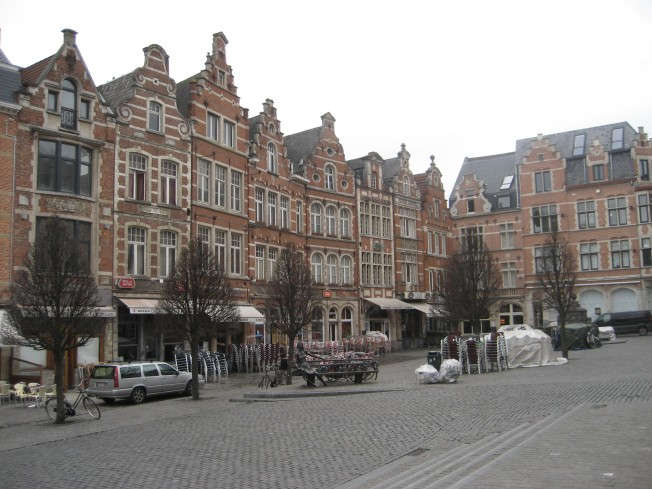 The Oude Markt in Leuven in a rare quiet moment